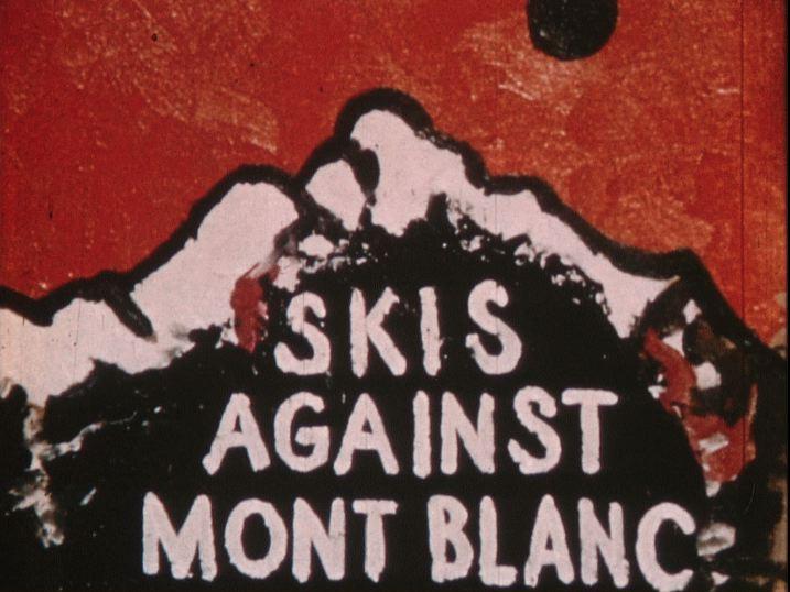 Skis against Mont blanc