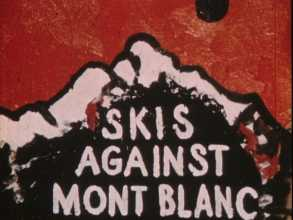 Skis against Mont blanc